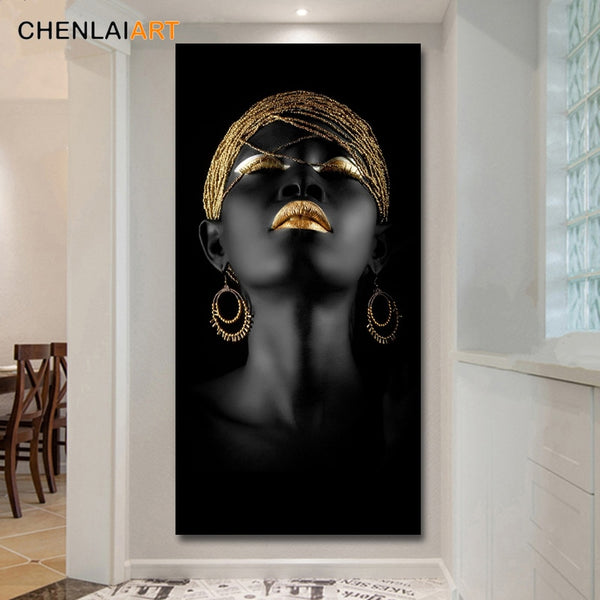 HQ Canvas Print Modern Black Woman Model Wall Art Decoration