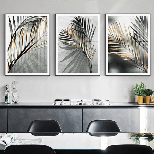 3 Panel HQ Canvas print Painting Black Leave with frame
