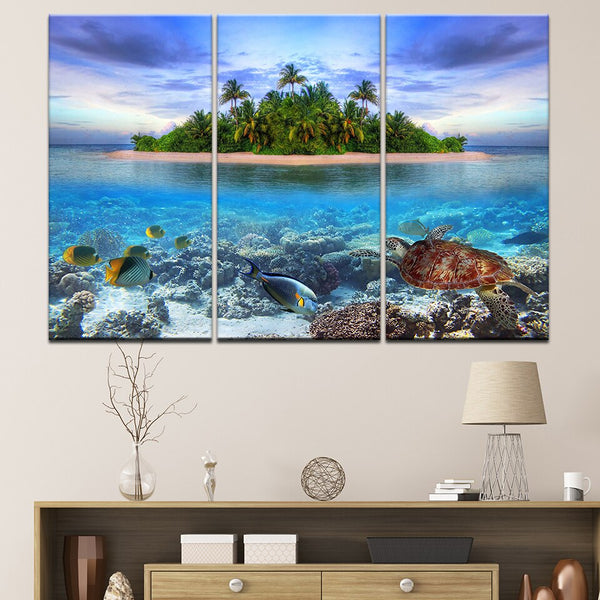 3 Pieces Underwater Sea Fish Turtle Reefs HQ Canvas print with frame
