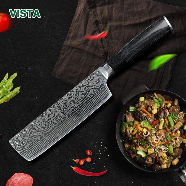 Chef Knives Kitchen Knife 7 Inch Japanese 7Cr17 440C High Carbon Stainless Steel Imitation Damascus