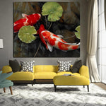 ʻO ka Chinese Koi Fish Lotus nani Feng Shui Animal HQ Canvas Print
