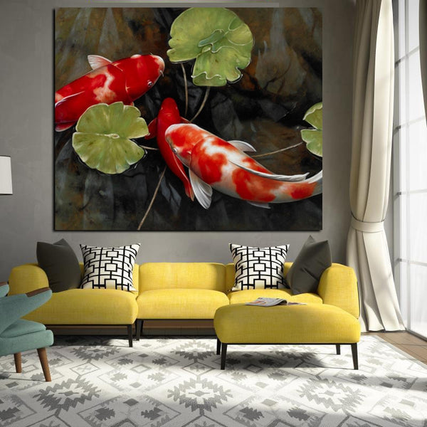 Chinese Koi Fish Lotus beautiful Feng Shui Animal HQ Canvas Print