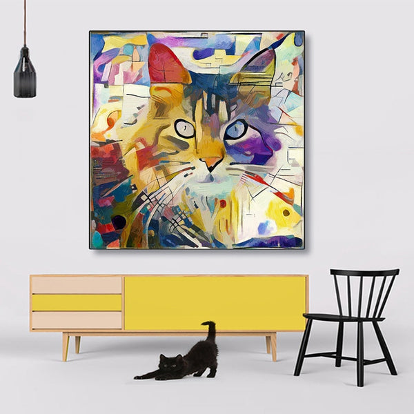 Colorful Cat Animal Picture HQ Canvas Print