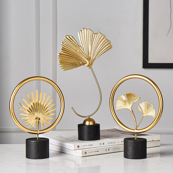 Creative Gold modern flowers ornaments miniature metal figurinas