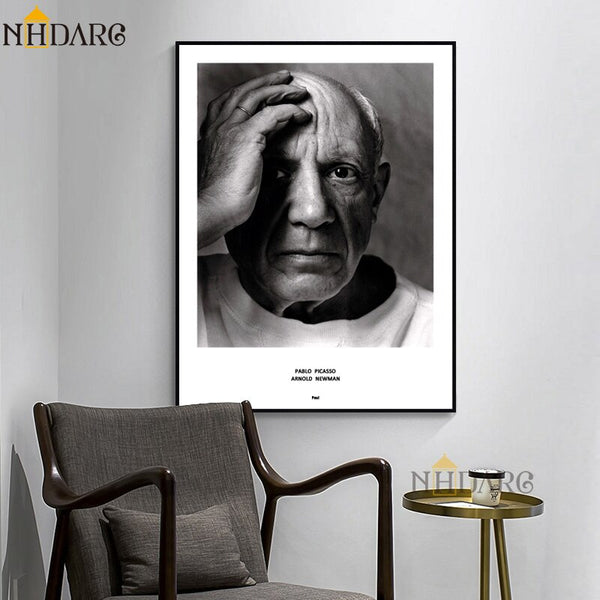 Black and White Portrait of Picasso HQ Canvas Print