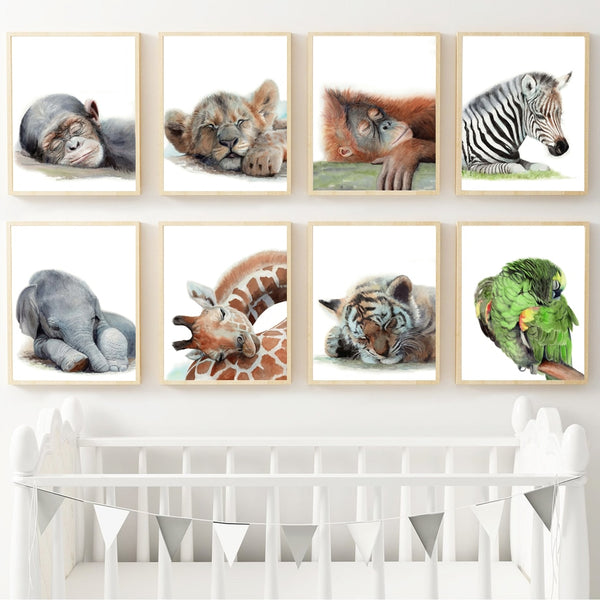 Kids Room Elephant giraffe lion tiger zebra Parrot Nursery Wall Art Nordic Wall Pictures Baby Room HQ Canvas Print