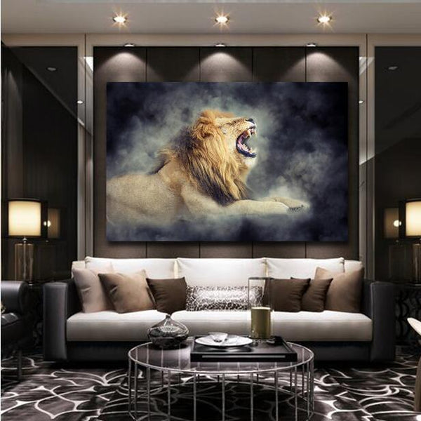 Male Lion In Smoke Cool Wall Art Living Room HQ Canvas Print frame available
