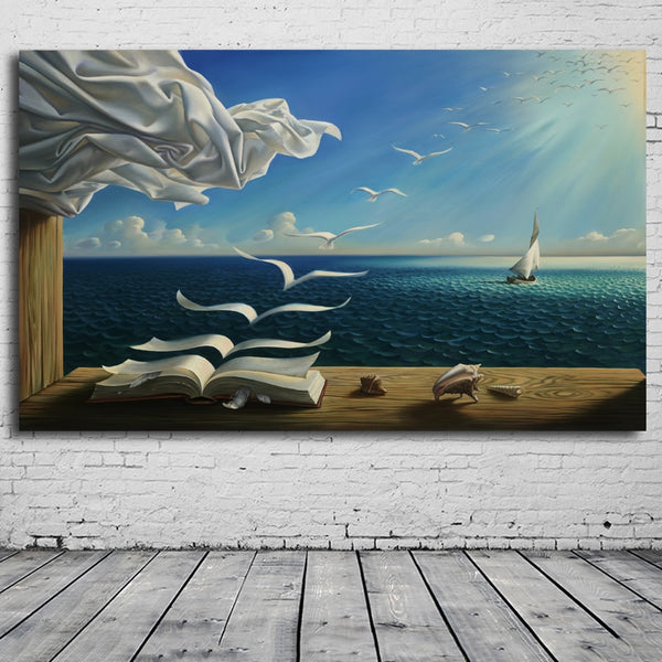 The Waves Book Sailboat Salvador Dali by Kush HQ Canvas Print frame available