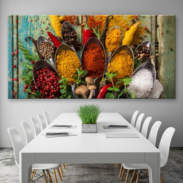 Food Modern Spices Poster HQ Canvas Print Kitchen Restaurant Home Decoration