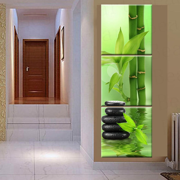 3 Panel frame available HQ Canvas Print Painting meditative bamboo spa frame available