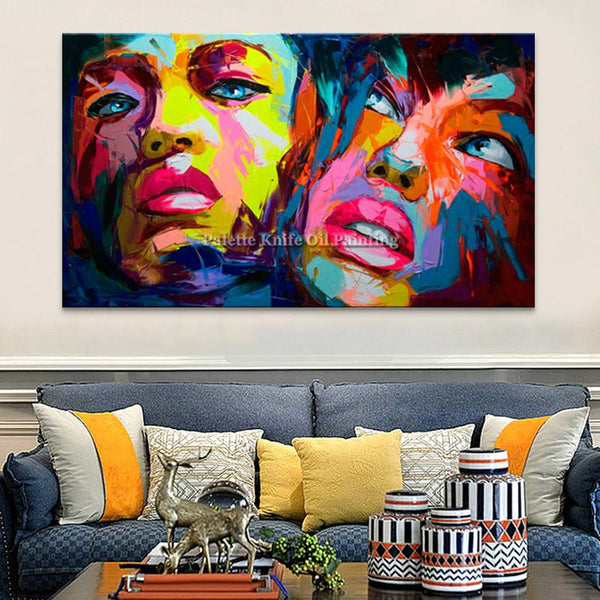 Francoise Nielly Canvas Painting Palette Knife Face Oil Painting Wall Art Pictures For Living Room