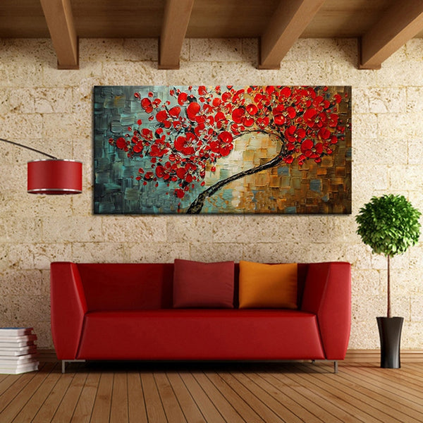 Handpainted Abstract Red Flower Tree Knife Oil Painting On Canvas Beautiful