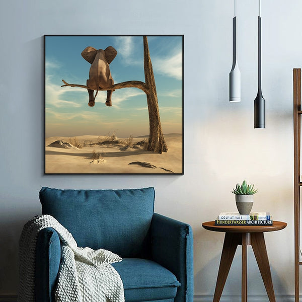 Funny Little Elephant on Tree Modern HQ Canvas Print Painting Wall Art