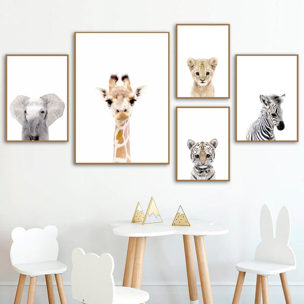 Kids Room Giraffe elephant lion tiger zebra Nursery Wall Art Baby Decor HQ Canvas Print