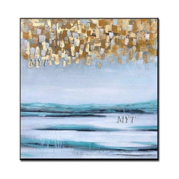 Gold Foil Designs Abstract 100% Handpainted Oil Painting Wall Canvas Art Modern High100Cm Width160Cm