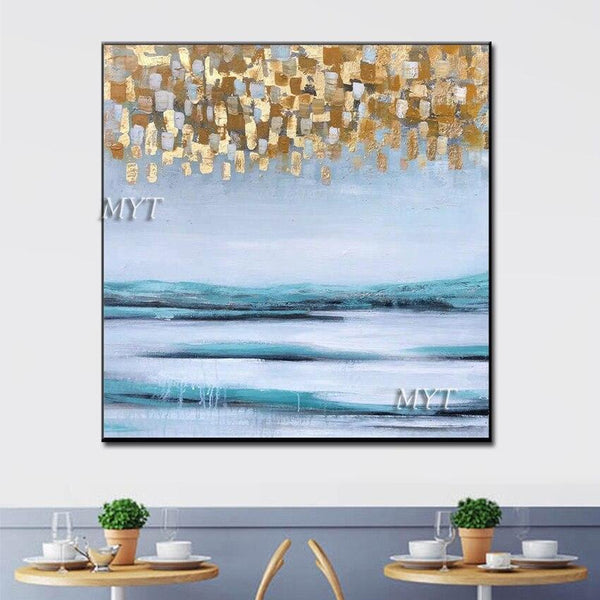 Gold Foil Designs Abstract 100% Handpainted Oil Painting Wall Canvas Art Modern