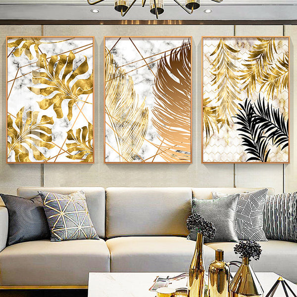 Gold Tropical Leaf Home Decor Nordic HQ Canvas Print