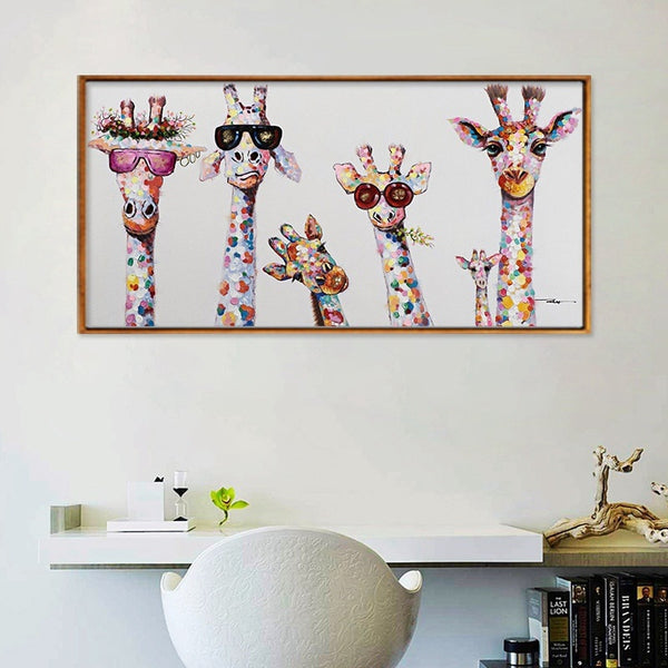 Giraffe Family with frame Animal Art HQ Canvas Print Painting