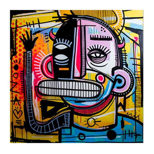 Graffiti Street Art Big Face HQ Canvas Print Wall Art