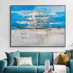 Hand Painted Abstract Blue With White On Canvas Modern Painting Wall Artwork