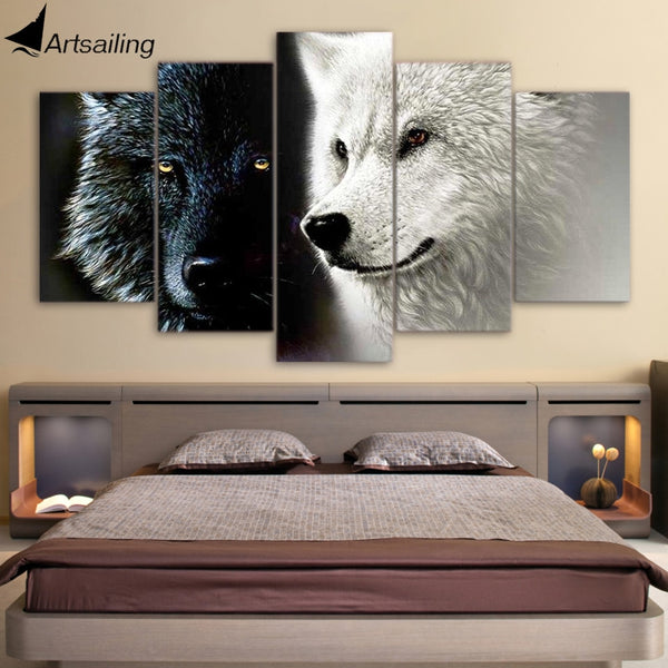 5 Piece HQ Canvas Print Art Abstract Black White Wolf Couple with frame