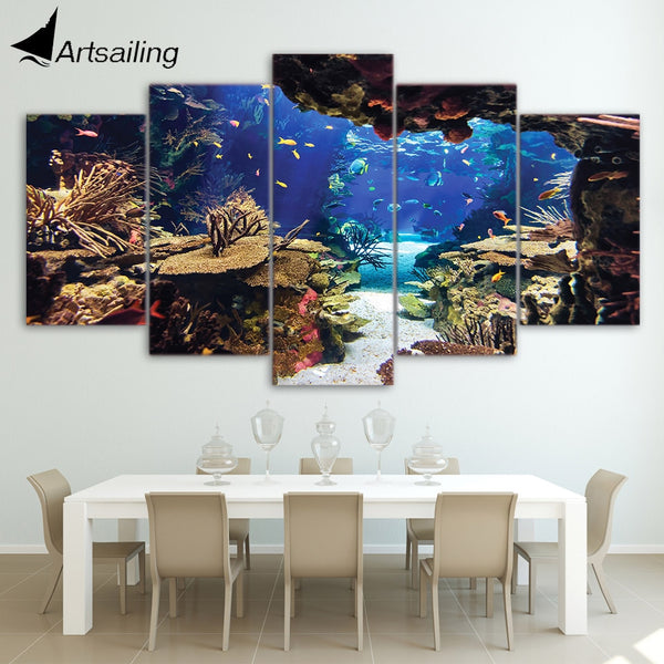 5 piece Underwater Sea Fish Coral Reefs HQ Canvas Print frame available