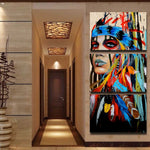 3 piece HQ Canvas Print art Painting tribe feather warrior WITH FRAME