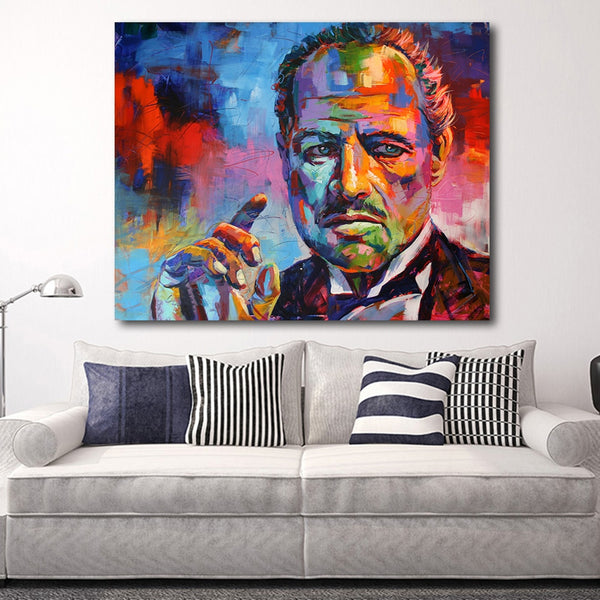 Figure Painting Colorful Godfather Modern Canvas Art Wall Pictures HQ Canvas Print