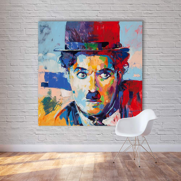 Modern Abstract Figure Canvas Art Chaplin Pop Art Wall Pictures HQ Canvas Print