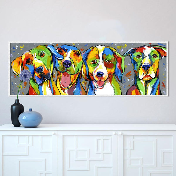 Wall Art Animal Oil Painting Dog Canvas Picture HQ CanvasPrint Puppy Friendship