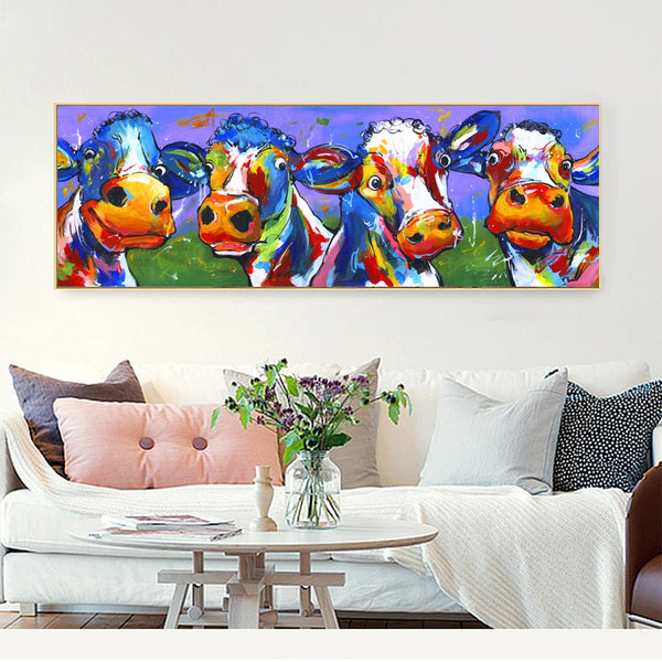 Wall Art Decor Print Abstract Pictures Cute Cow Canvas Poster HQ Canvas Print