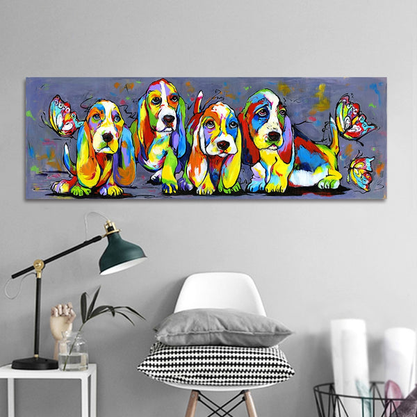 Cute Wall Art Picture HQ Canvas Print Animal Painting Four Colorful Dogs Puppy