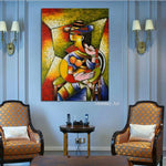 Elegant Lady Saxophone Gentlemen Picasso Style Art Hand Painted Figure Canvas Painting Nordic Decor for Living Room Decor