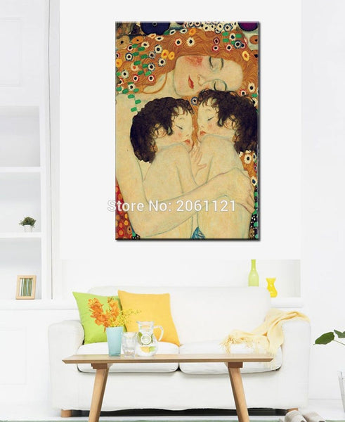 Hand-Painted Master Museum Quality Oil Painting Gustav Klimt Famous Reproduction Mother And Child