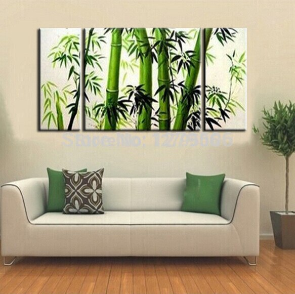 Handpainted Abstract Art Oil Painting On Canvas Fresh Bamboo For Living Room Decor
