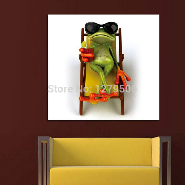 Handpainted Abstract Modern Art Sunbathing Mr. Frog Lovely Animal Painting On Canvas