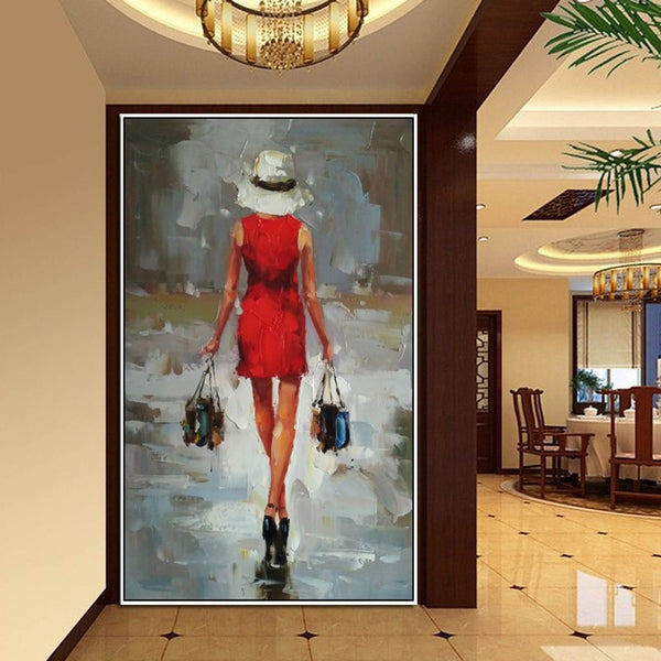 Handpainted Fashion Art Oil Painting Sexy Shopping Lady Picture Wall Art