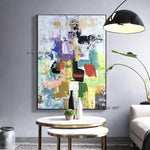 Hand Painted Abstract Wall Art Modern Minimalist Colorful Picture Canvas Home Decor