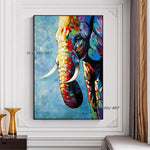 Hand Painted Abstract Wall Art Elephant Picture Minimalist Modern On Canvas Decorative