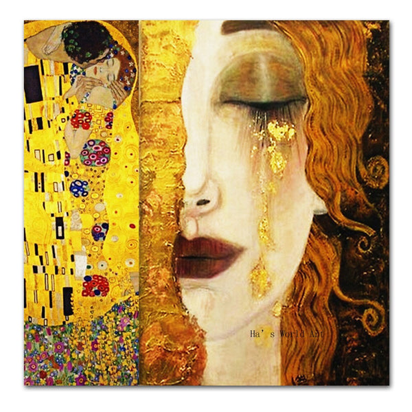 High quality handmade Oil painting Reproduction Golden Tears by Gustav Klimt