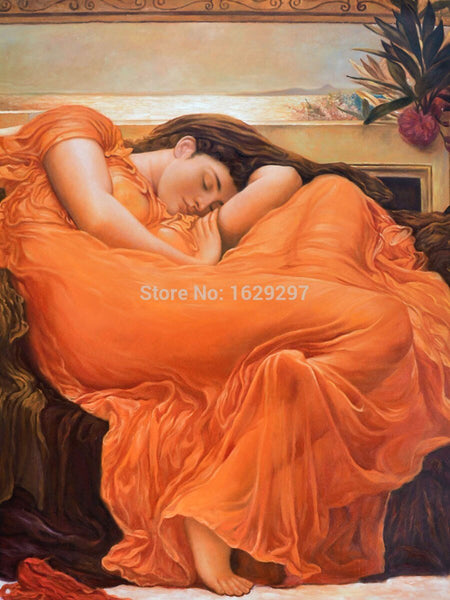 High Quality Flaming June Lord Frederic Leighton Oil Painting Canvas Hand Painted Portrait Art