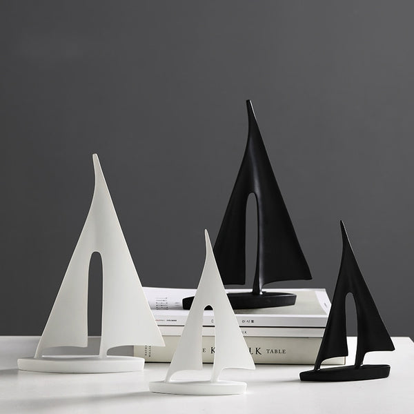 Home Statue Decoration Accessories Sailboat Figurine Modern Sailboat Abstract Sculpture