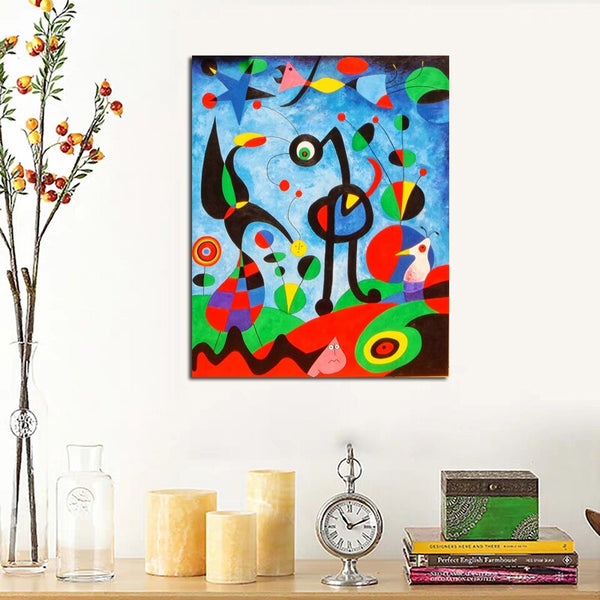 Joan Miró Artwork HQ Canvas Print Painting Marble with frame