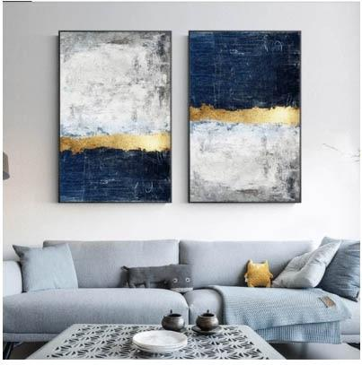 Hq Canvas Print Wall Art Modern Abstract Layered Navy Gold With Frame