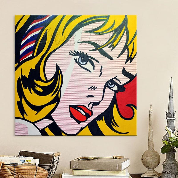Roy Lichtenstein Pop Art Cartoon Oil Painting On Canvas 36X36Inch