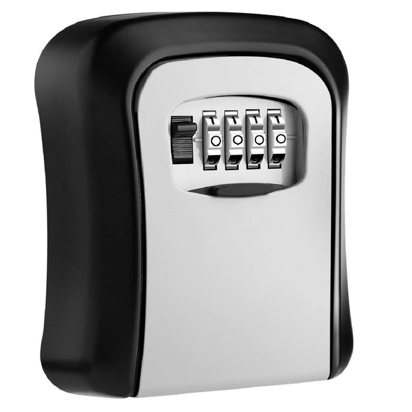 Mool Key Lock Box Wall Mounted Aluminum Alloy Safe Weatherproof 4 Digit Combination Storage Indoor