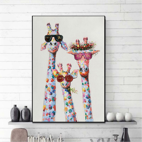 Art Colorful Animal three Giraffe Family With Glasses HQ Canvas Print