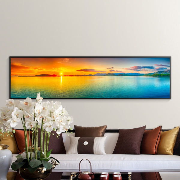 Sunset Lake Modern Landscape HQ Canvas Print