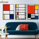 Mondrian Famous Color Block Abstract Style HQ Canvas Print Painting Art