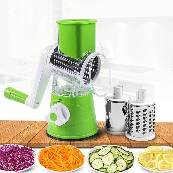 Multifunctional Drum-Type Hand-Operated Vegetable Cheese Shredder Device Grater Potato Slicer
